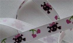Tête de mort noir rose / fond blanc