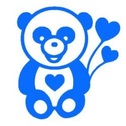 Appliqué Flex panda ballon coeur ~ 10x9.5 cm
