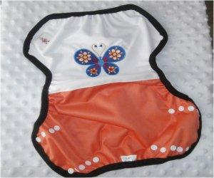 Culotte de protection Ts Brodée papillon blanc orange