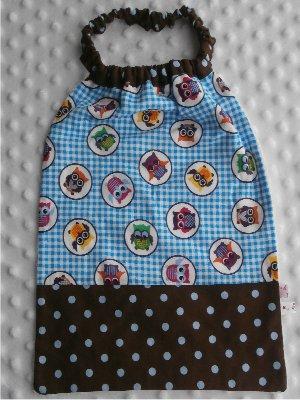 Serviette élastiquée bébé/enfant Hibou bleu / marron pois bleu / tissus inversés