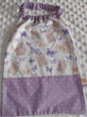 Serviette élastiquée bébé/enfant Papillons lavande / lilas pois blanc