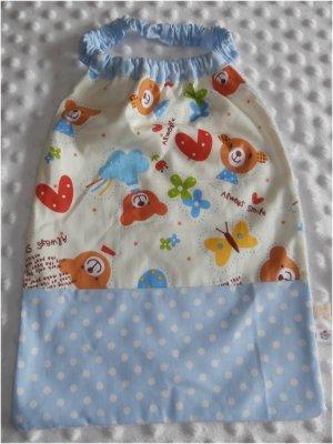 Serviette élastiquée bébé/enfant oursons bleus