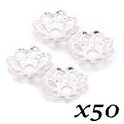 Coupelles fleurs argentées perles 10 mm (Lot50)