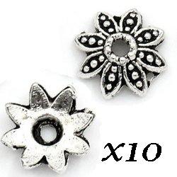 Coupelles fleurs argentées 10 mm (lot20)