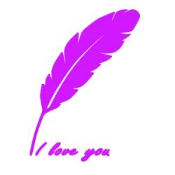 Appliqué Flex plume I love you / 12 cm