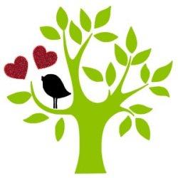 Appliqué Flex arbre oiseau composition 10  cm