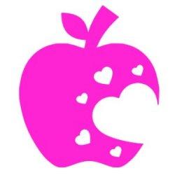Appliqué Flex pomme croquée coeur / 10 cm