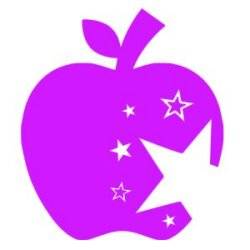 Appliqué Flex pomme croquée étoile / 10 cm