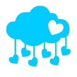 Appliqué Flex nuage tombé de coeurs / 10 cm