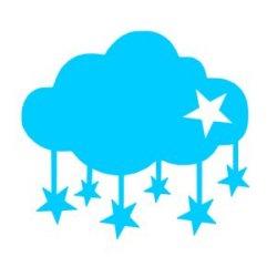 Appliqué Flex nuage tombé étoiles / 10 cm