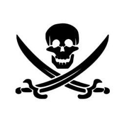 Appliqué Flex tête de mort épée pirate / 10 cm