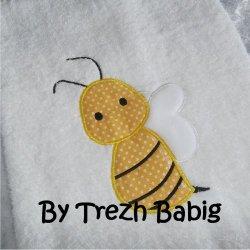 Serviette de bain Brodée Abeille jaune