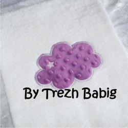 Serviette de bain Brodée Nuage minky mauve