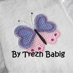 Serviette de bain Brodée Papillon bleu/rose pois