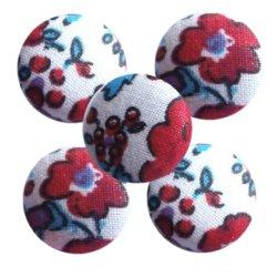 Bouton tissu à coudre Fleurs REF6