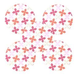 Bouton tissu fleurs rose orange (lot5)