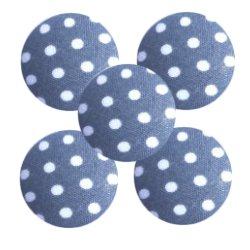 Bouton tissu à coudre Pois REF14 gris foncé