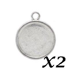 Support pendentif cabochon argenté 20 mm (Lot2)