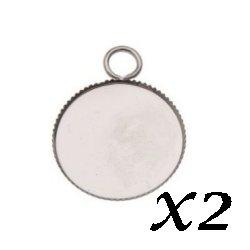Support pendentif cabochon dentelé argenté 25 mm (Lot2)