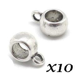 Belières lisses argentées 9x6 mm (Lot10)