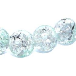Perle craquelée verre/noire 10 mm/trou 1.4 (lot8) vert eau