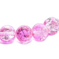 Perles craquelées verre 10 mm/trou 1.4 (lot10) rose