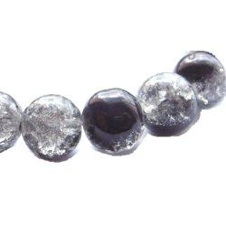Perle craquelée verre/noire 10mm/trou 1.4 (lot8) noir