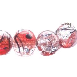 Perle craquelée verre/noire 10mm/trou 1.4 (lot8) Rouge