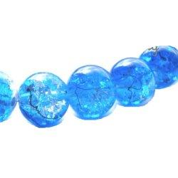 Perles craquelées verre 10 mm/trou 1.4 (lot10) bleu moyen