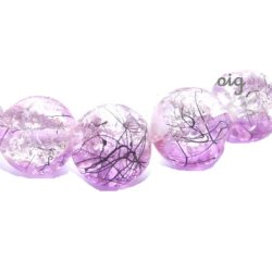 Perle craquelée verre/noire 10mm/trou 1.4 (lot8) lilas