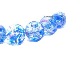 Perles craquelées verre 10 mm/trou 1.4 (lot10) bleu galaxy
