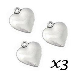 Breloque gros Coeur 2 cm/trou 2 mm (Lot3)