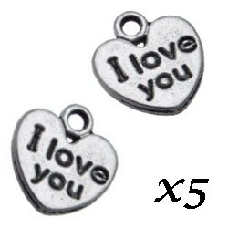 Breloque Coeur I love you 1.2 cm/trou 1.3 mm (Lot5)