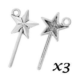 Breloque baguette étoile magique 2.5 cm/trou 1.4 mm (Lot3)