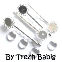 Kit 4 barrettes cabochons 12 mm verre