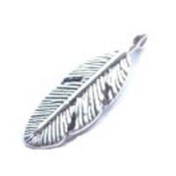 Breloque plume argentée (Lot3) 3 cm/trou 1.9 mm