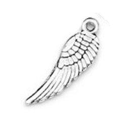 Breloque plume aile d'ange argenté (Lot5) 1.7 cm/trou 1 mm