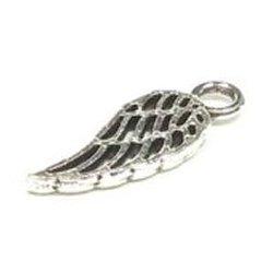 Breloque plume aile argentée évidée (Lot5) 1.8 cm/trou 2.5 mm