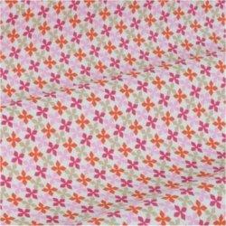 Tissu coton fleurs kebul rose orange