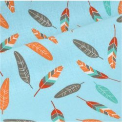 Tissu coton stip turquoise anis