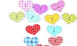 Bouton bois à coudre coeur (lot4) 2.5 x 2 cm