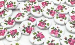 Bouton à coudre fleur rose bois (lot5) 1.5 cm