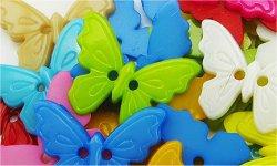 Bouton papillon résine à coudre (lot de 5) 1.7 x 2.2 cm