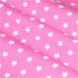 Tissu coton rose clair / étoiles blanc 9 mm