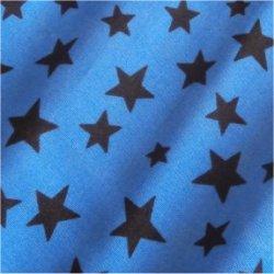 Tissu coton étoiles mixte bleu/chocolat