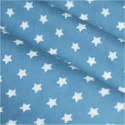 Tissu coton bleu ciel / étoiles blanc 9 mm