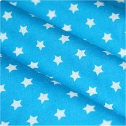 Tissu coton turquoise / étoiles blanc 9 mm