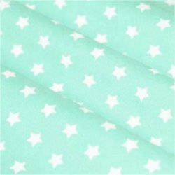 Tissu coton vert eau / étoiles blanc 9 mm