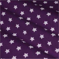 Tissu coton mauve / étoiles blanc 9 mm