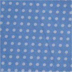 Tissu coton bleu ciel pois blanc 2 mm
